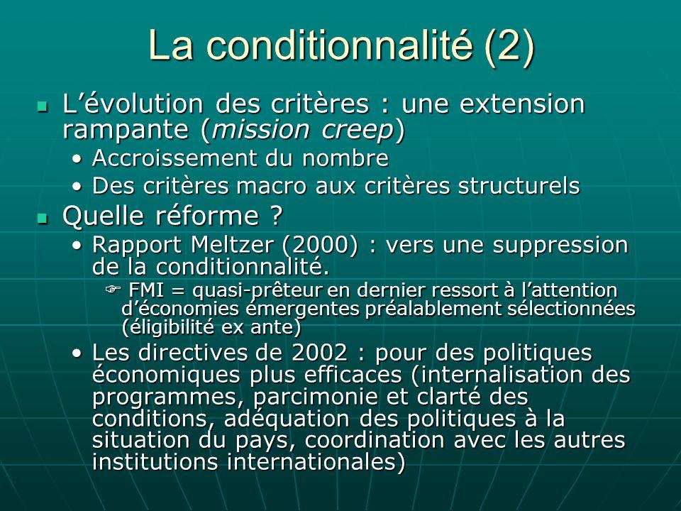 La conditionnalité (2) Lévolution des critères : une extension rampante (mission creep) Lévolution des critères : une extension rampante (mission cree