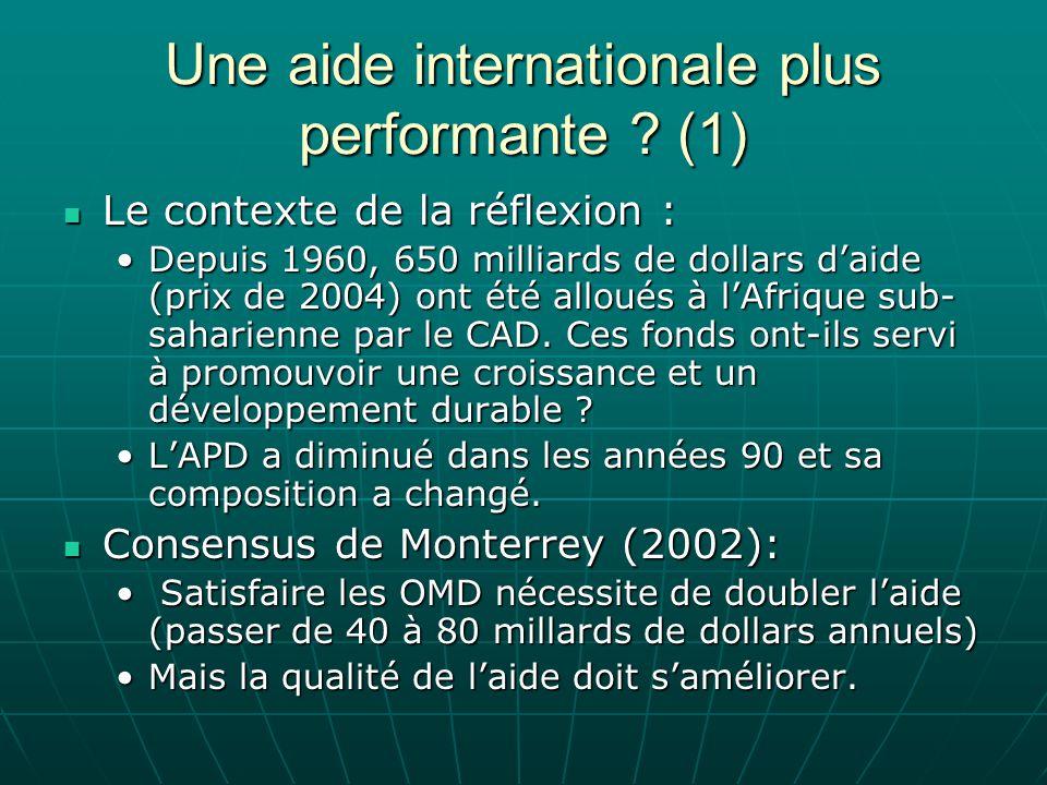 Une aide internationale plus performante ? (1) Le contexte de la réflexion : Le contexte de la réflexion : Depuis 1960, 650 milliards de dollars daide