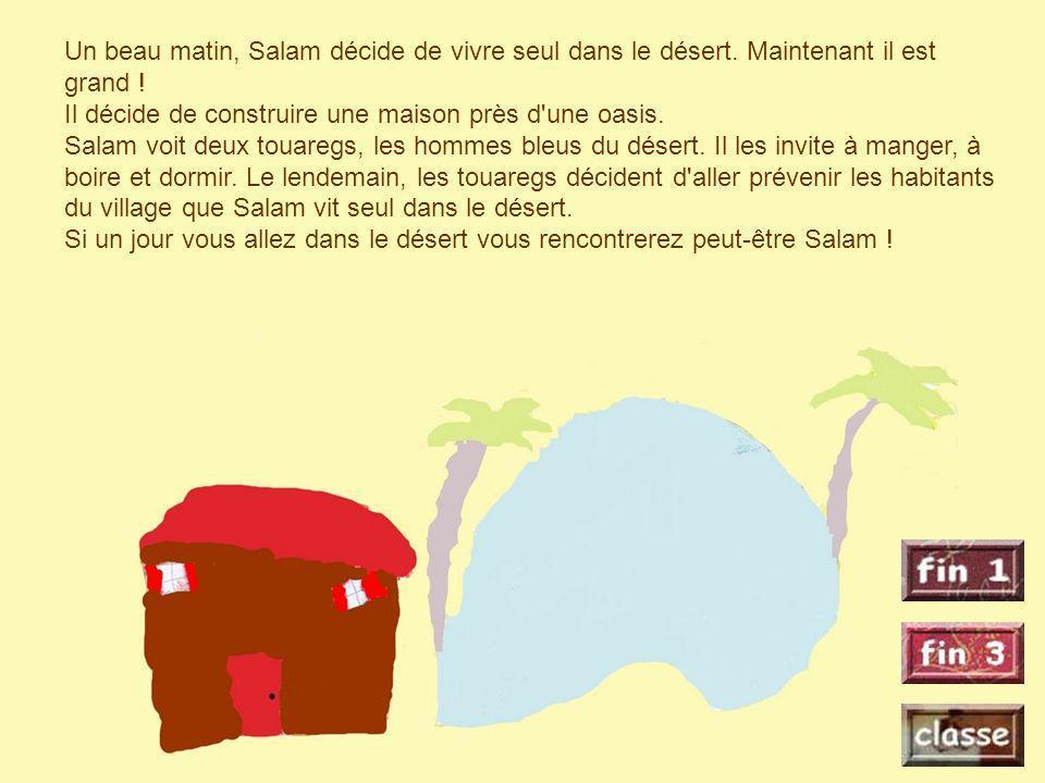 Un beau matin, Salam décide de vivre seul dans le désert. Maintenant il est grand ! Il décide de construire une maison près d'une oasis. Salam voit de