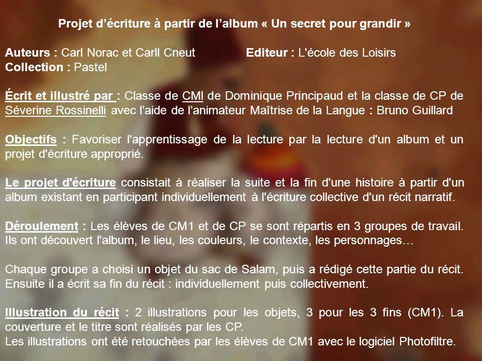 Projet décriture à partir de lalbum « Un secret pour grandir » Auteurs : Carl Norac et Carll CneutEditeur : L'école des Loisirs Collection : Pastel Éc
