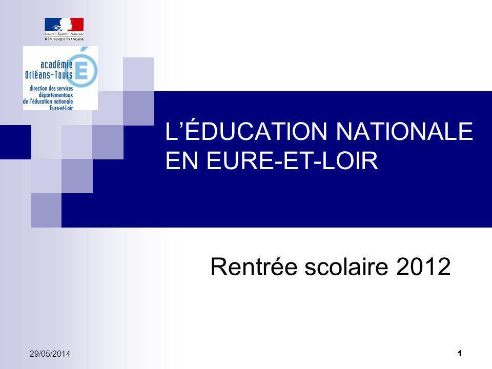 LÉDUCATION NATIONALE EN EURE-ET-LOIR Rentrée scolaire 2012 29/05/2014 1