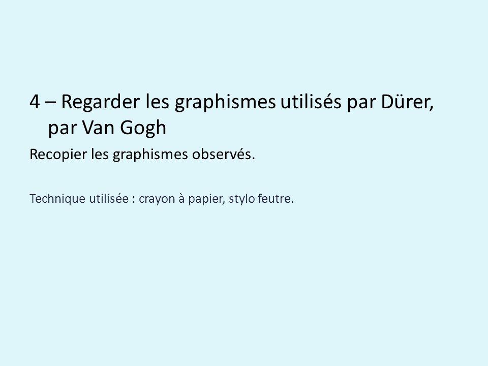4 – Regarder les graphismes utilisés par Dürer, par Van Gogh Recopier les graphismes observés.