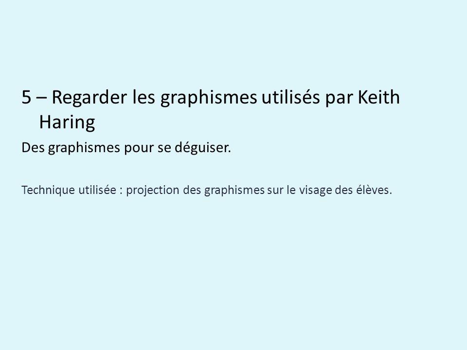 5 – Regarder les graphismes utilisés par Keith Haring Des graphismes pour se déguiser.