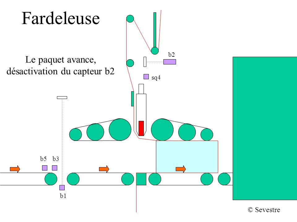 Fardeleuse b2 sq4 b1 b5b3 © Sevestre Le paquet avance, désactivation du capteur b2