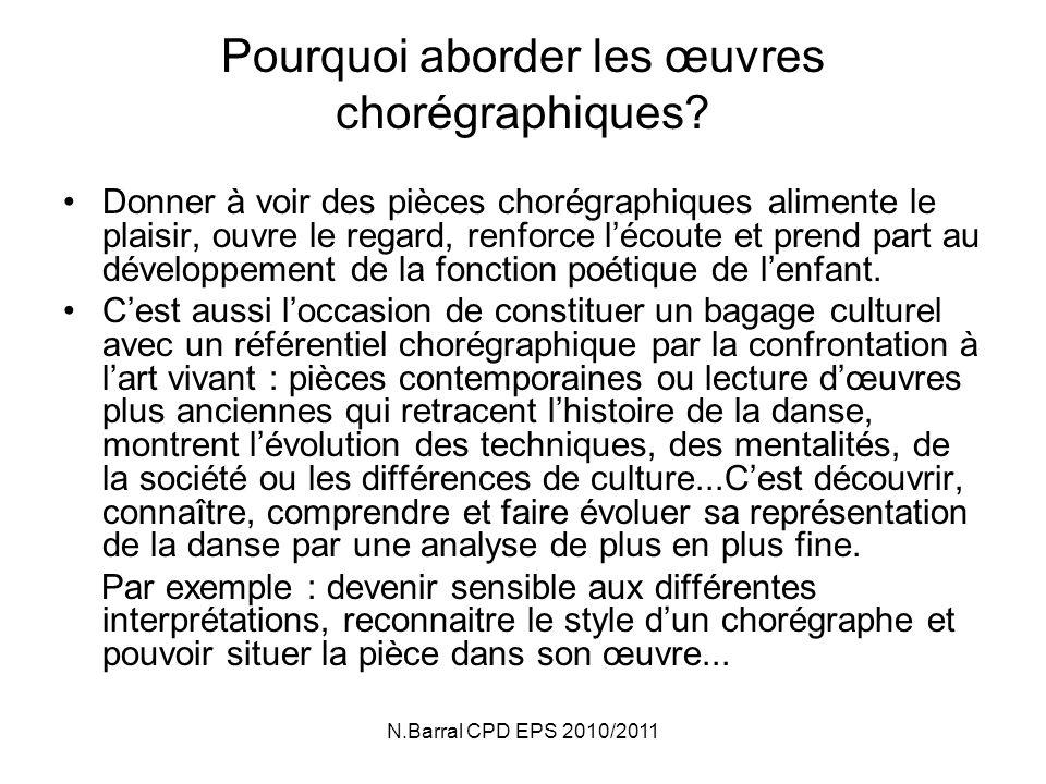 N.Barral CPD EPS 2010/2011 Pourquoi aborder les œuvres chorégraphiques.