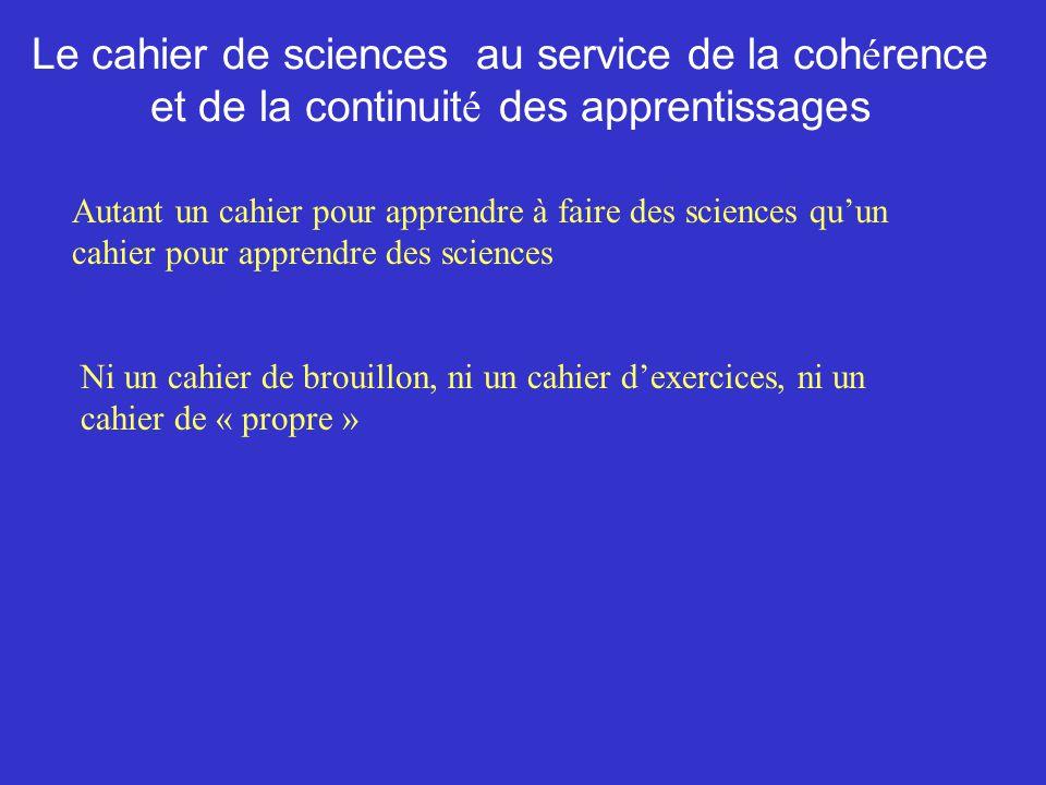 Le cahier de sciences au service de la coh é rence et de la continuit é des apprentissages Autant un cahier pour apprendre à faire des sciences quun c