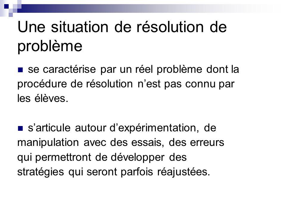 Une situation de résolution de problème se caractérise par un réel problème dont la procédure de résolution nest pas connu par les élèves.