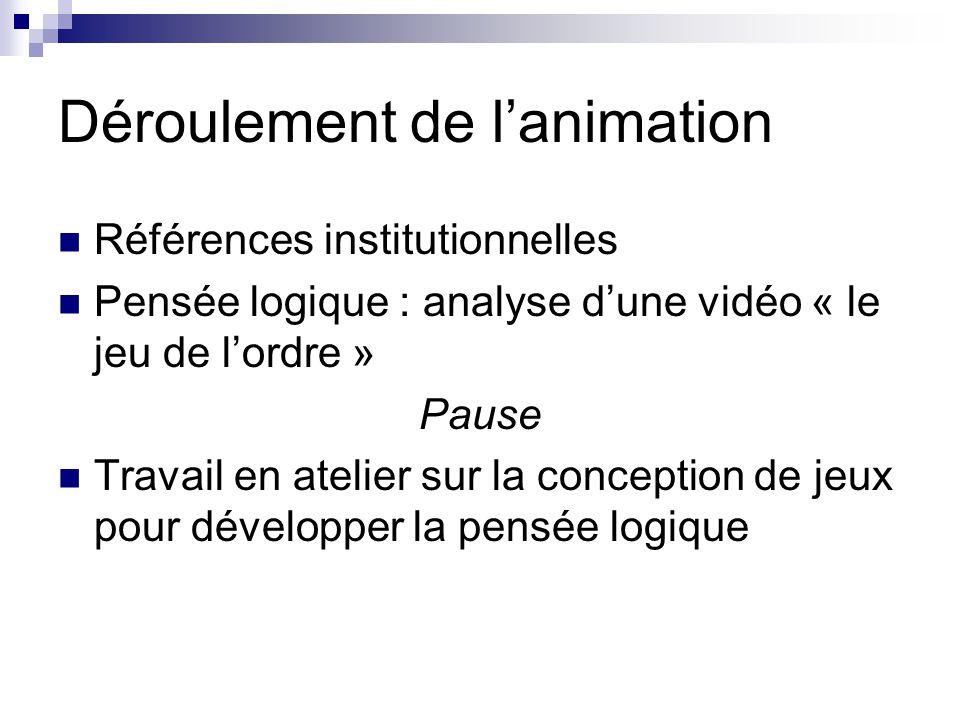 Déroulement de lanimation Références institutionnelles Pensée logique : analyse dune vidéo « le jeu de lordre » Pause Travail en atelier sur la conception de jeux pour développer la pensée logique