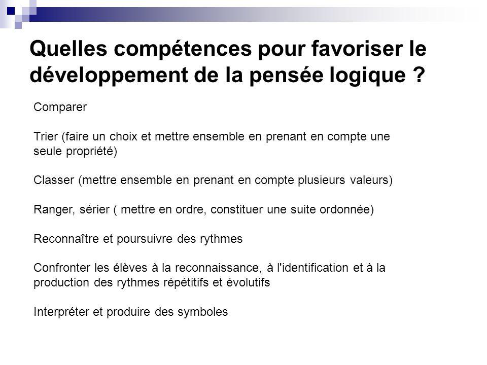 Quelles compétences pour favoriser le développement de la pensée logique .