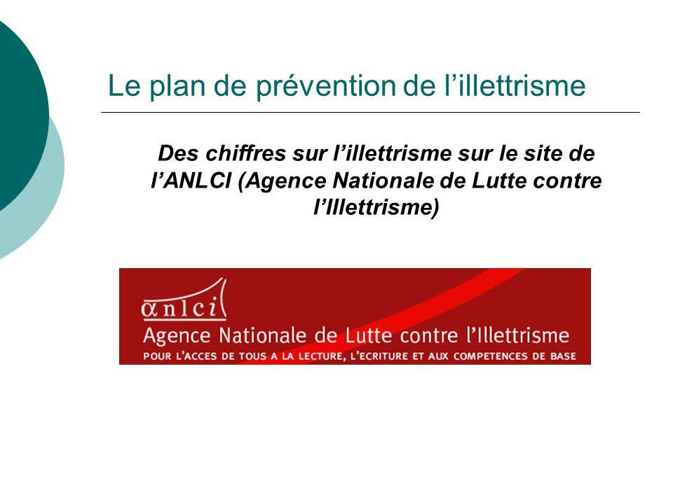 Le plan de prévention de lillettrisme Des chiffres sur lillettrisme sur le site de lANLCI (Agence Nationale de Lutte contre lIllettrisme)