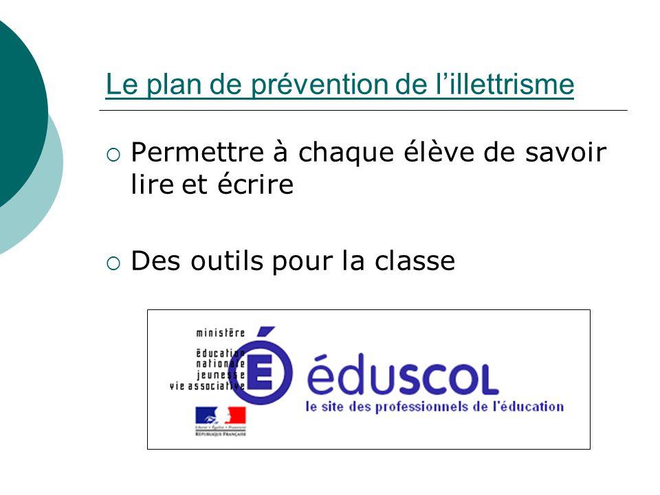 Permettre à chaque élève de savoir lire et écrire Des outils pour la classe Le plan de prévention de lillettrisme