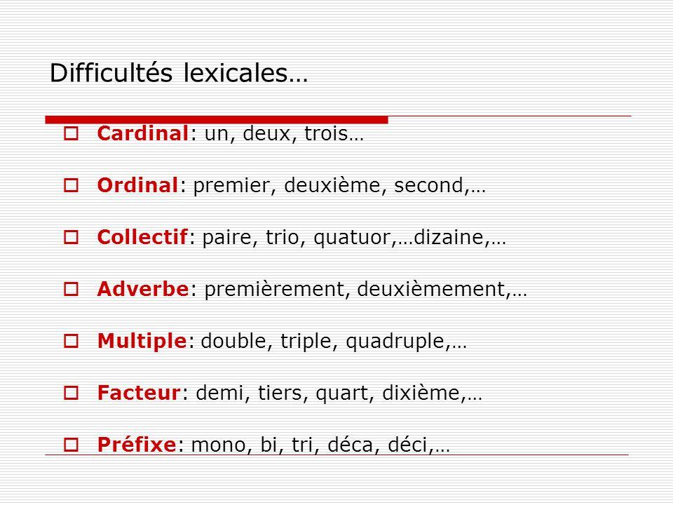 Difficultés lexicales… Cardinal: un, deux, trois… Ordinal: premier, deuxième, second,… Collectif: paire, trio, quatuor,…dizaine,… Adverbe: premièrement, deuxièmement,… Multiple: double, triple, quadruple,… Facteur: demi, tiers, quart, dixième,… Préfixe: mono, bi, tri, déca, déci,…