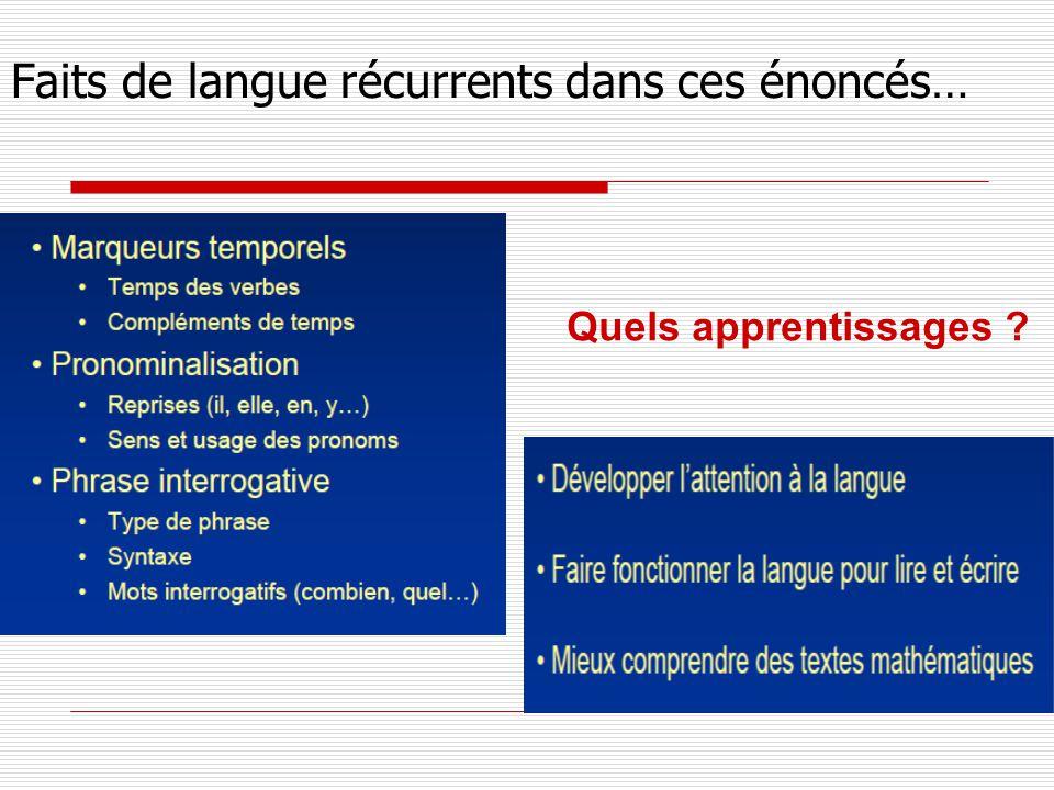 Faits de langue récurrents dans ces énoncés… Quels apprentissages