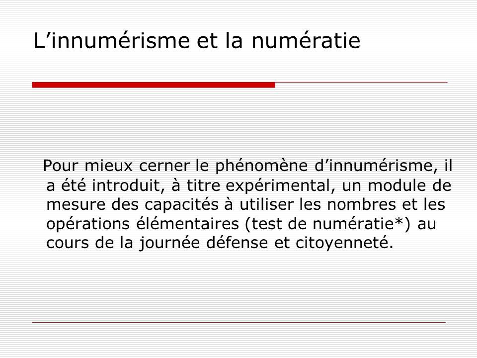Résultats globaux des tests France : 2009 : 4,5 % en situation dinnumérisme, ce qui représente 723 000 jeunes.