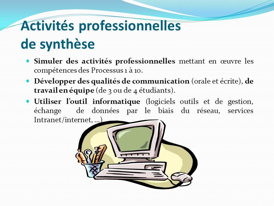 Activités professionnelles de synthèse Simuler des activités professionnelles mettant en œuvre les compétences des Processus 1 à 10.