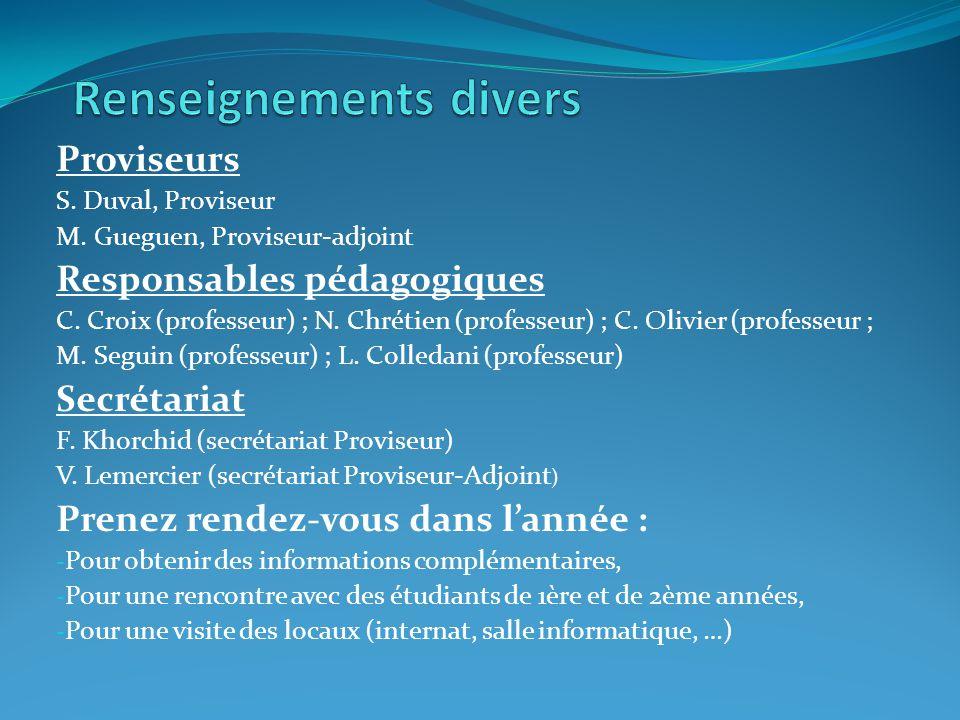 Proviseurs S.Duval, Proviseur M. Gueguen, Proviseur-adjoint Responsables pédagogiques C.