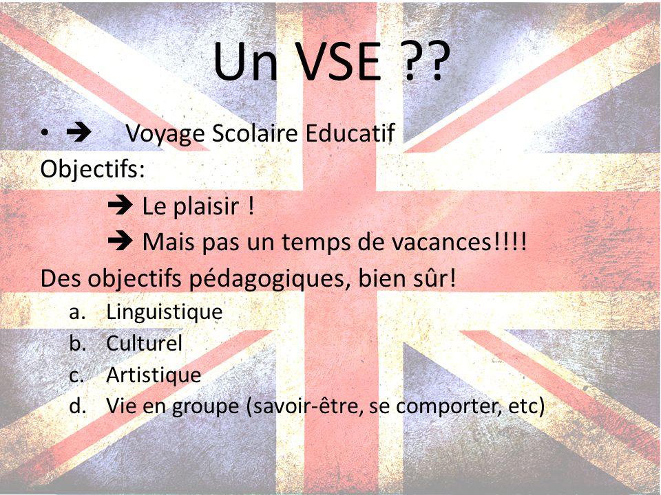 Un VSE ?? Voyage Scolaire Educatif Objectifs: Le plaisir ! Mais pas un temps de vacances!!!! Des objectifs pédagogiques, bien sûr! a.Linguistique b.Cu