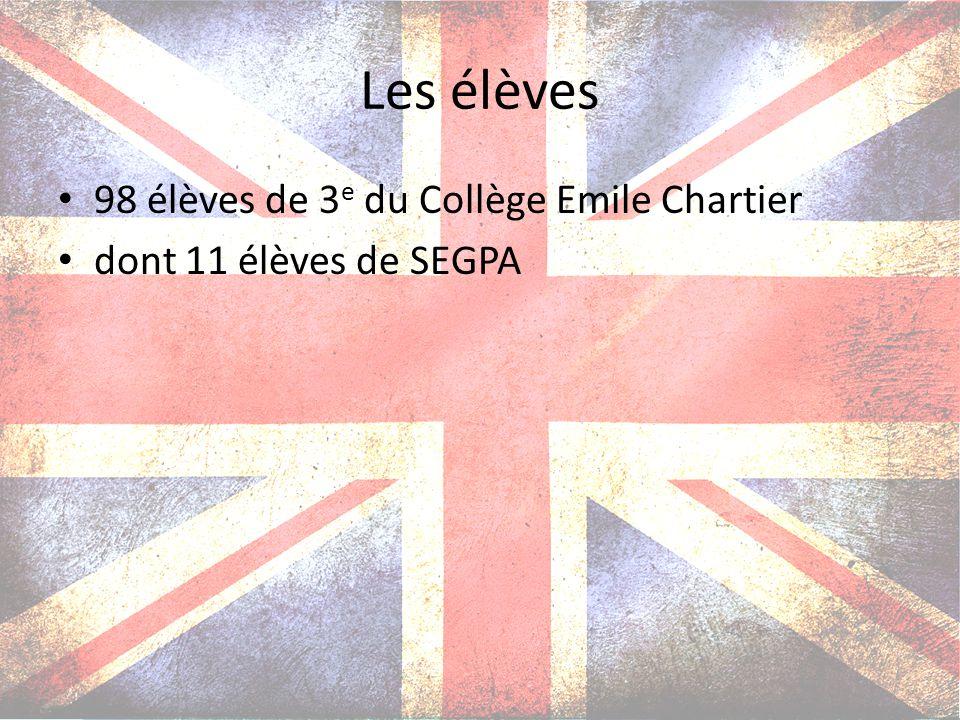 Les élèves 98 élèves de 3 e du Collège Emile Chartier dont 11 élèves de SEGPA