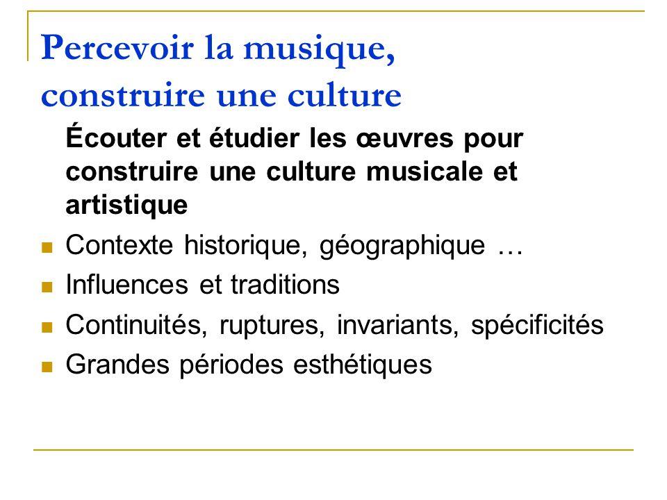 Percevoir la musique, construire une culture Écouter et étudier les œuvres pour construire une culture musicale et artistique Contexte historique, géo