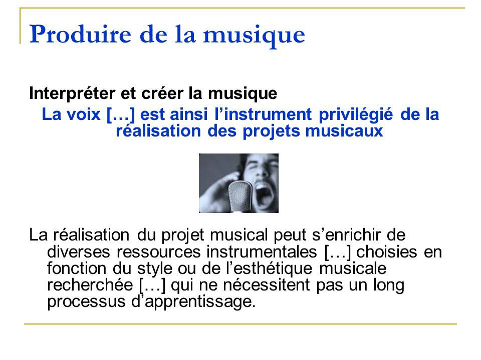 Produire de la musique Interpréter et créer la musique La voix […] est ainsi linstrument privilégié de la réalisation des projets musicaux La réalisat
