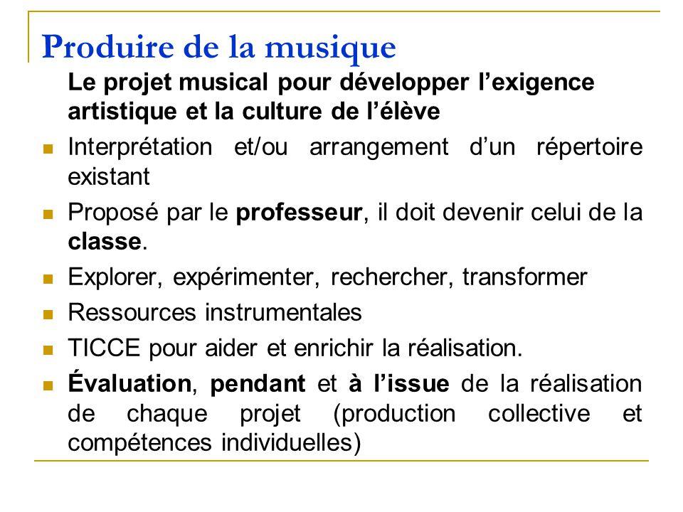 Produire de la musique Le projet musical pour développer lexigence artistique et la culture de lélève Interprétation et/ou arrangement dun répertoire