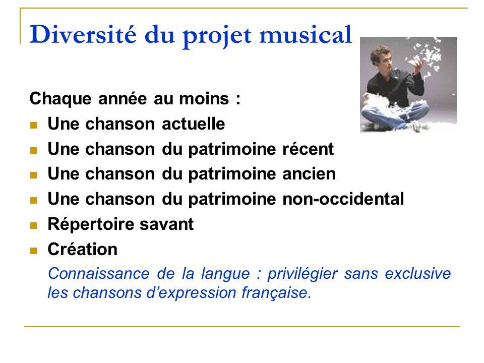 Diversité du projet musical Chaque année au moins : Une chanson actuelle Une chanson du patrimoine récent Une chanson du patrimoine ancien Une chanson