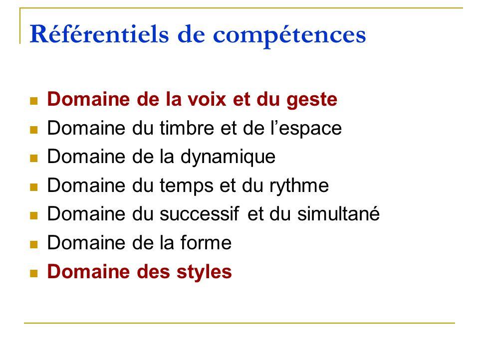 Référentiels de compétences Domaine de la voix et du geste Domaine du timbre et de lespace Domaine de la dynamique Domaine du temps et du rythme Domai