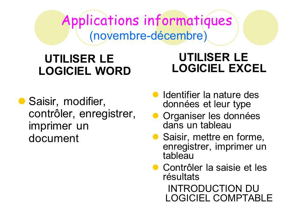 Applications informatiques (novembre-décembre) UTILISER LE LOGICIEL WORD Saisir, modifier, contrôler, enregistrer, imprimer un document UTILISER LE LO