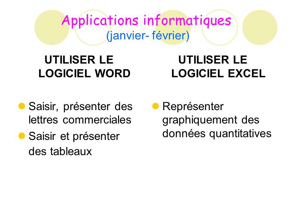 Applications informatiques (janvier- février) UTILISER LE LOGICIEL WORD Saisir, présenter des lettres commerciales Saisir et présenter des tableaux UT