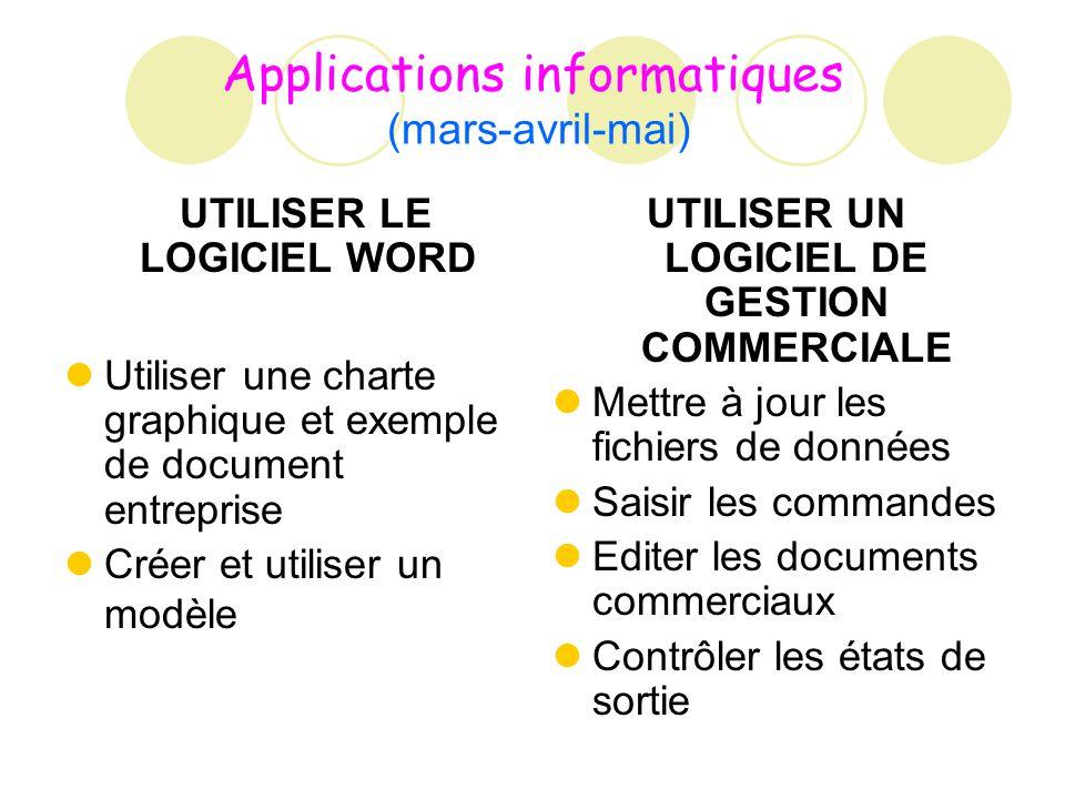 Applications informatiques (mars-avril-mai) UTILISER LE LOGICIEL WORD Utiliser une charte graphique et exemple de document entreprise Créer et utilise