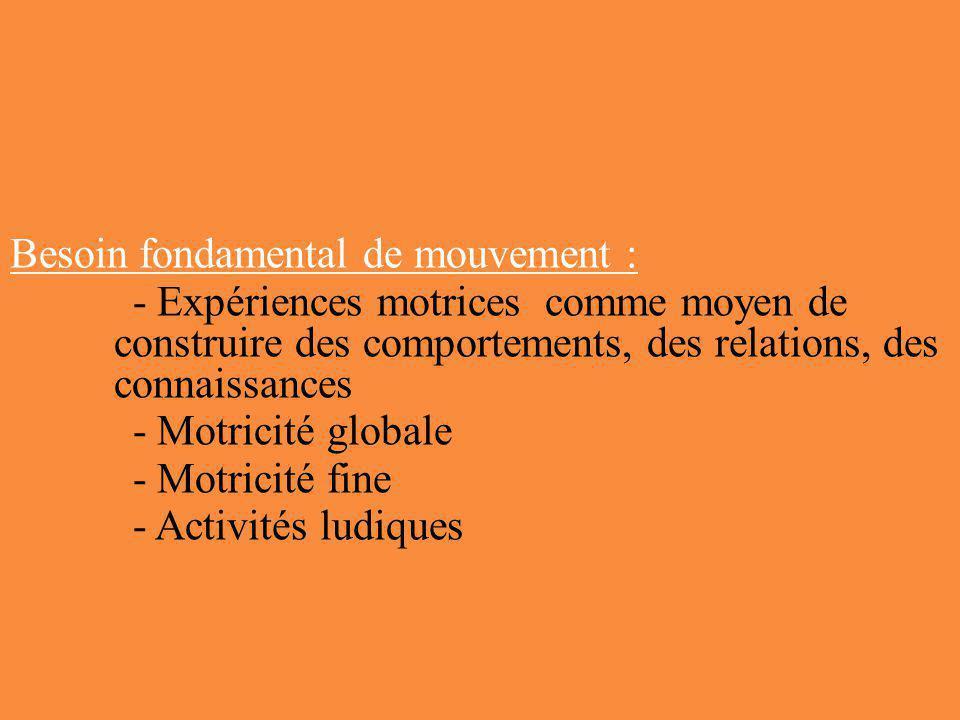 Besoin fondamental de mouvement : - Expériences motrices comme moyen de construire des comportements, des relations, des connaissances - Motricité glo