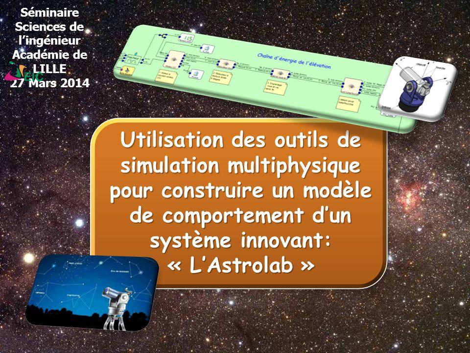 Séminaire Sciences de lingénieur Académie de LILLE 27 Mars 2014 Utilisation des outils de simulation multiphysique pour construire un modèle de compor