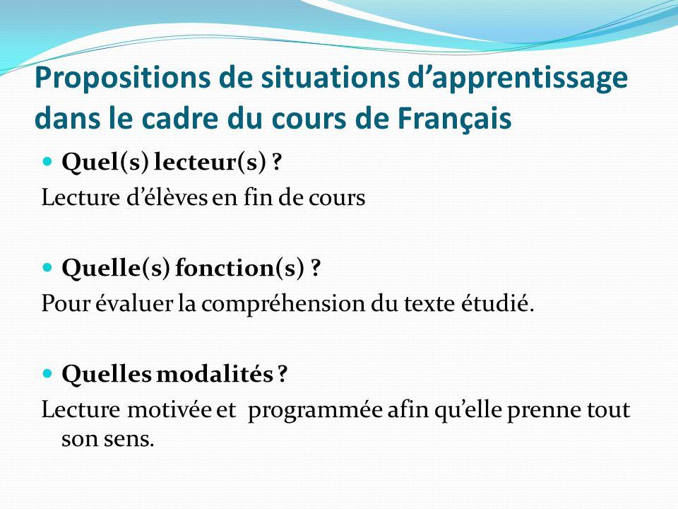 Propositions de situations dapprentissage dans le cadre du cours de Français Quel(s) lecteur(s) ? Lecture délèves en fin de cours Quelle(s) fonction(s