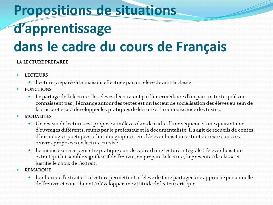 Propositions de situations dapprentissage dans le cadre du cours de Français LA LECTURE PREPAREE LECTEURS Lecture préparée à la maison, effectuée par