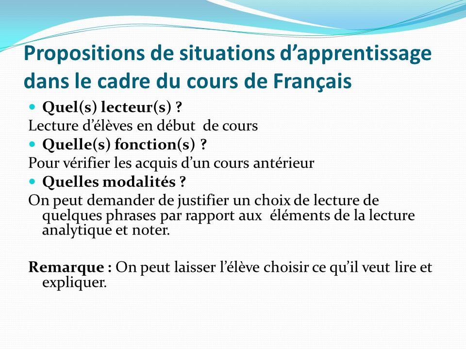 Propositions de situations dapprentissage dans le cadre du cours de Français Quel(s) lecteur(s) ? Lecture délèves en début de cours Quelle(s) fonction