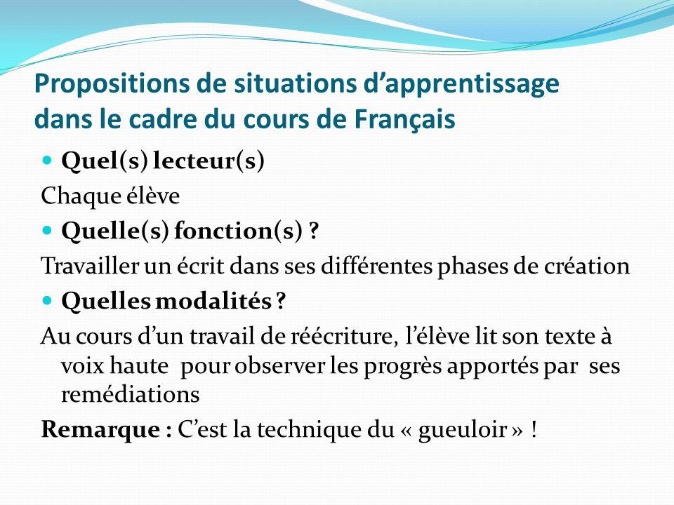 Propositions de situations dapprentissage dans le cadre du cours de Français Quel(s) lecteur(s) Chaque élève Quelle(s) fonction(s) ? Travailler un écr