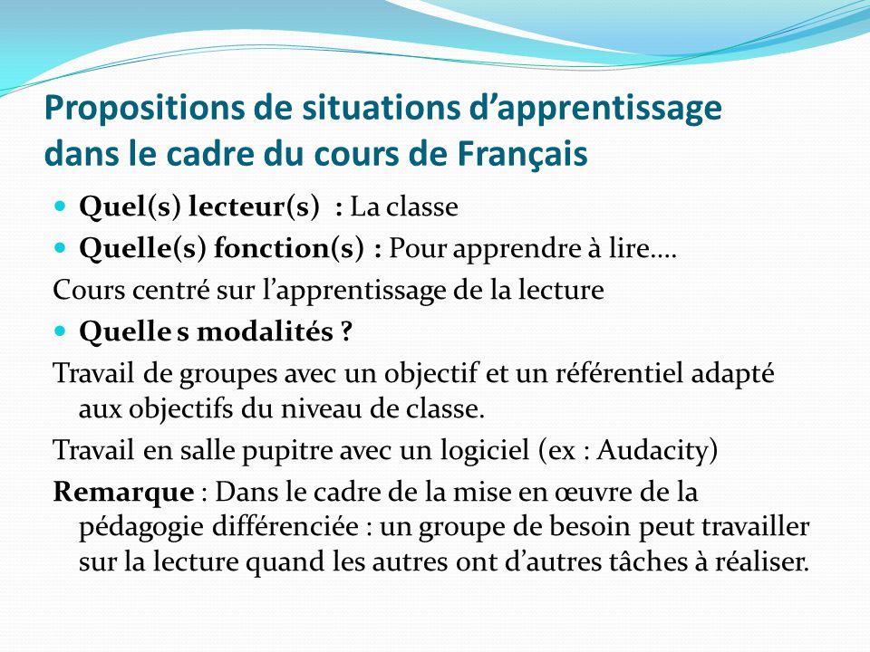 Propositions de situations dapprentissage dans le cadre du cours de Français Quel(s) lecteur(s) : La classe Quelle(s) fonction(s) : Pour apprendre à l