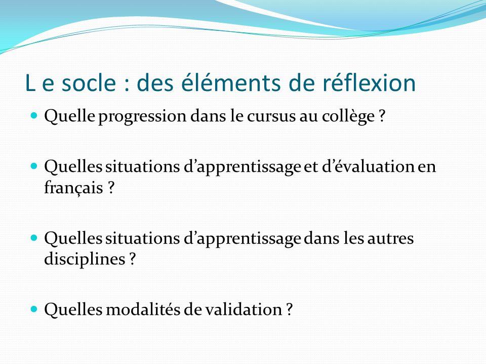 L e socle : des éléments de réflexion Quelle progression dans le cursus au collège ? Quelles situations dapprentissage et dévaluation en français ? Qu