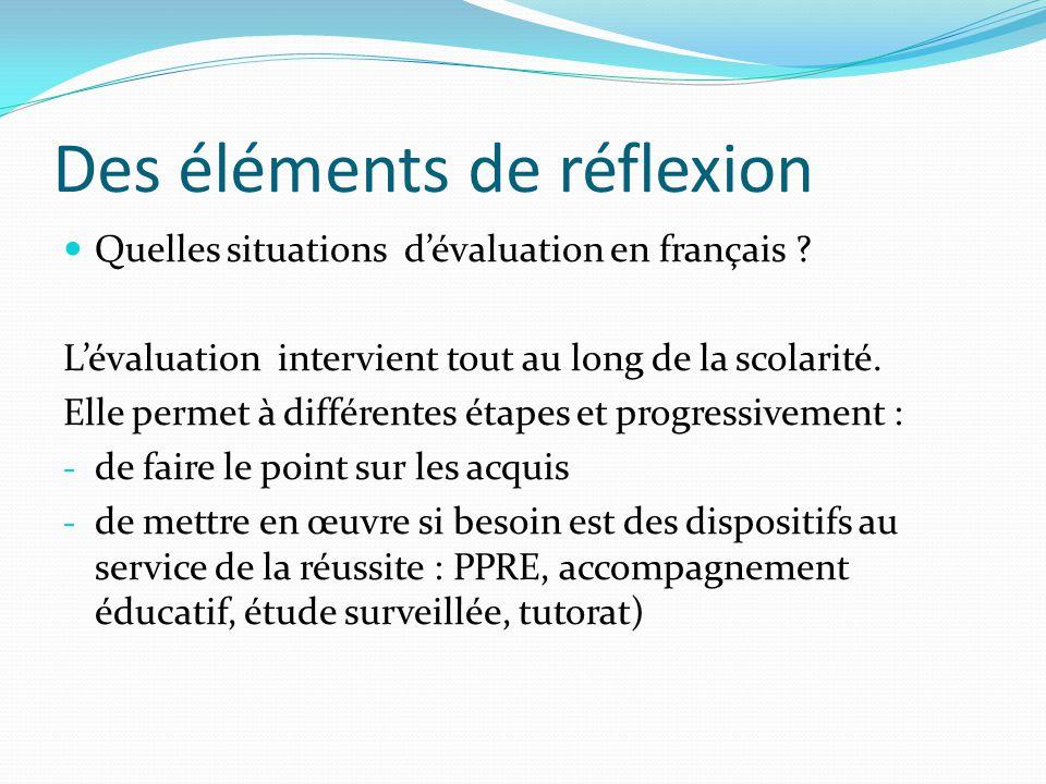 Des éléments de réflexion Quelles situations dévaluation en français ? Lévaluation intervient tout au long de la scolarité. Elle permet à différentes