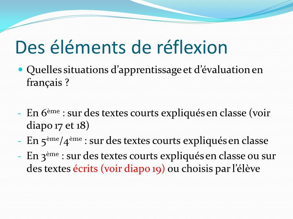 Des éléments de réflexion Quelles situations dapprentissage et dévaluation en français ? - En 6 ème : sur des textes courts expliqués en classe (voir