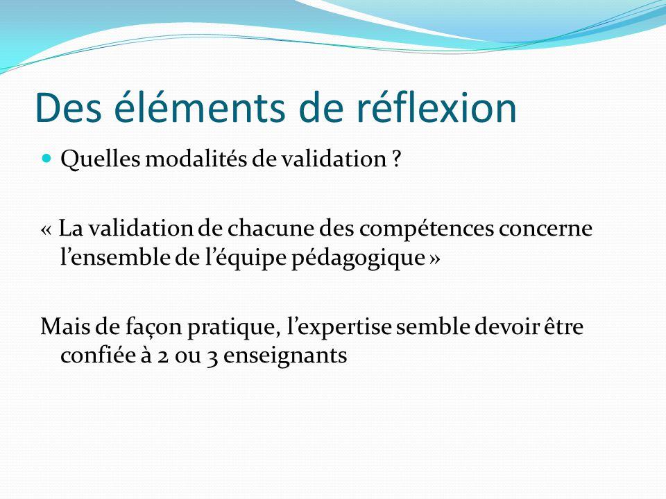 Des éléments de réflexion Quelles modalités de validation ? « La validation de chacune des compétences concerne lensemble de léquipe pédagogique » Mai