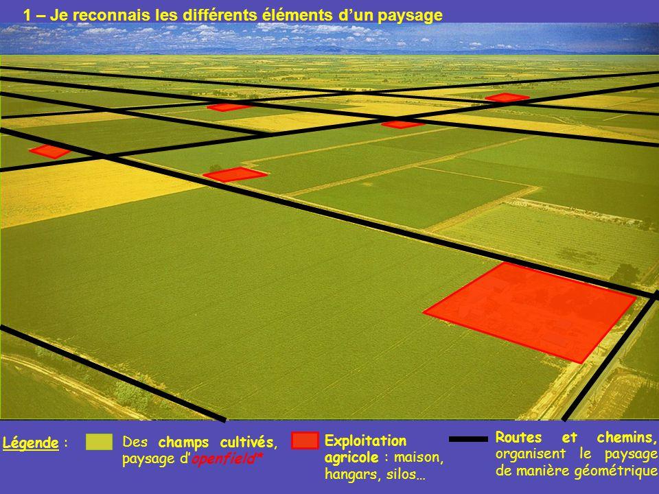 Légende : Des champs cultivés, paysage dopenfield* Exploitation agricole : maison, hangars, silos… Routes et chemins, organisent le paysage de manière
