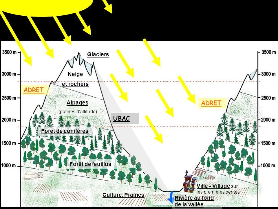 Ville - Village sur les premières pentes Culture, Prairies Forêt de feuillus Forêt de conifères Alpages (prairies daltitude) Neige et rochers ADRET UBAC Rivière au fond de la vallèe Glaciers