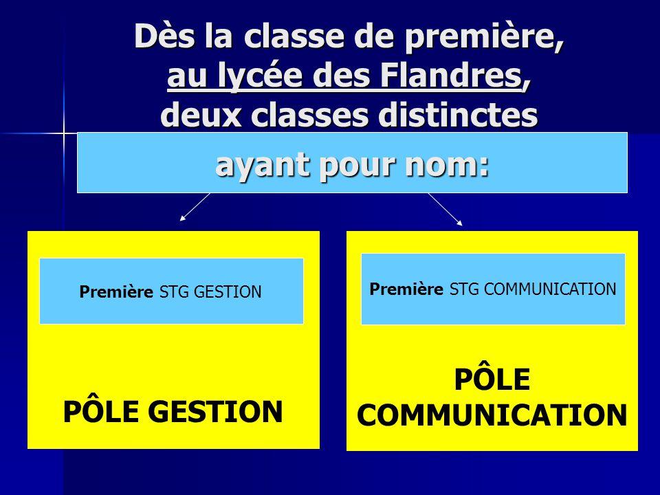 PÔLE COMMUNICATION PÔLE GESTION Première STG GESTION Première STG COMMUNICATION Dès la classe de première, au lycée des Flandres, deux classes distinctes ayant pour nom: