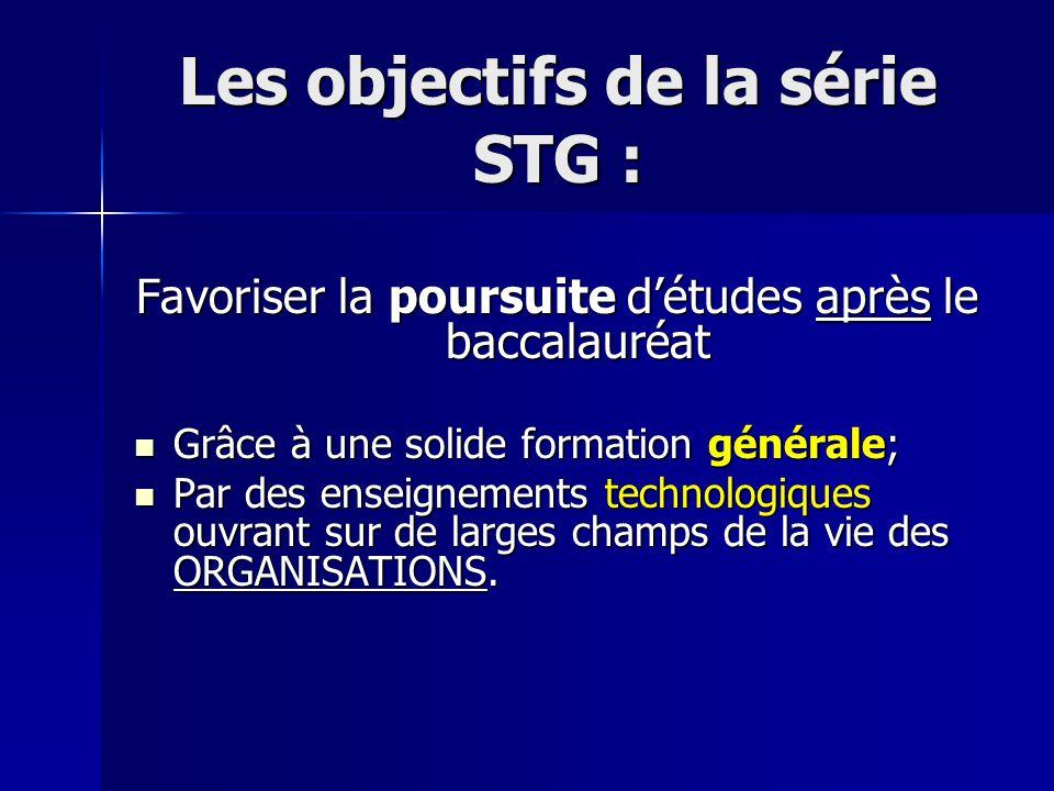 Les objectifs de la série STG : Favoriser la poursuite détudes après le baccalauréat Grâce à une solide formation générale; Grâce à une solide formation générale; Par des enseignements technologiques ouvrant sur de larges champs de la vie des ORGANISATIONS.
