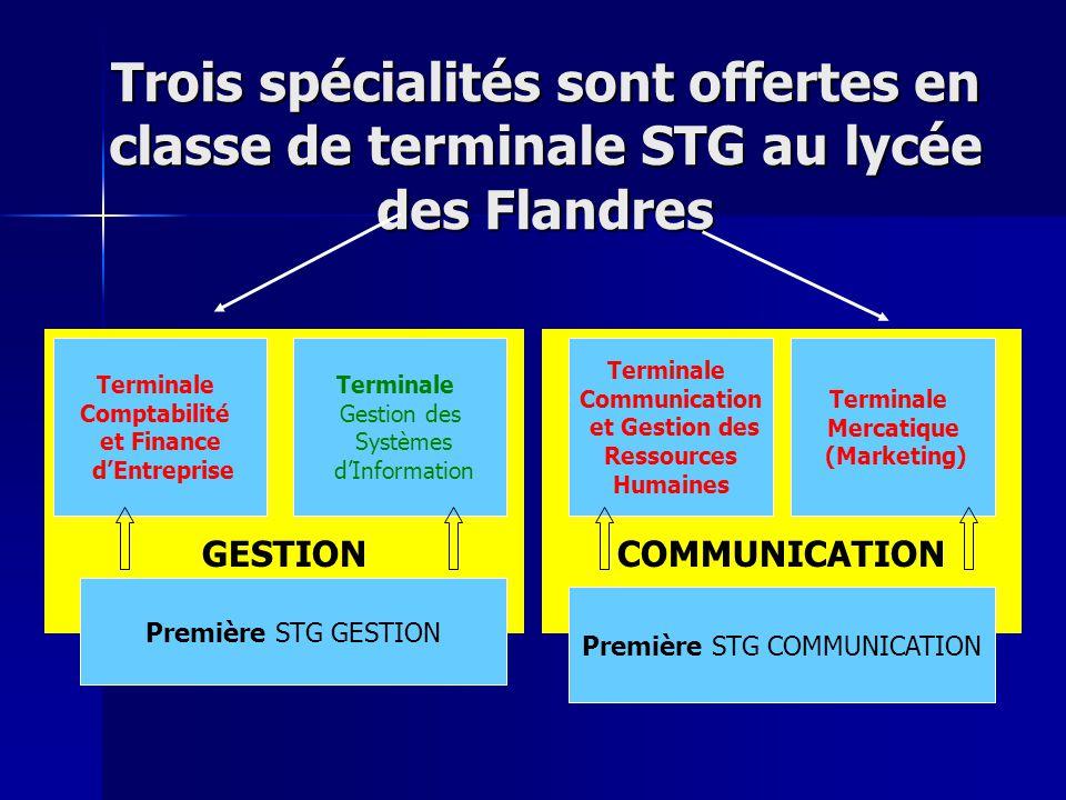 GESTION COMMUNICATION Trois spécialités sont offertes en classe de terminale STG au lycée des Flandres Terminale Comptabilité et Finance dEntreprise T