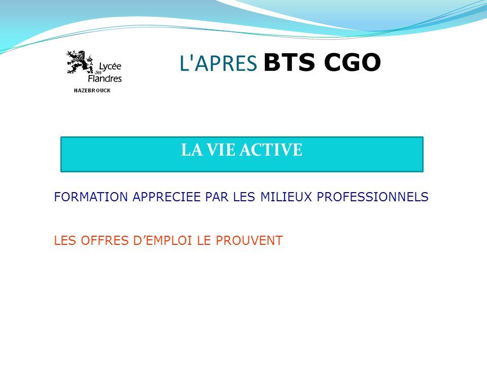 L'APRES BTS CGO LA VIE ACTIVE FORMATION APPRECIEE PAR LES MILIEUX PROFESSIONNELS LES OFFRES DEMPLOI LE PROUVENT