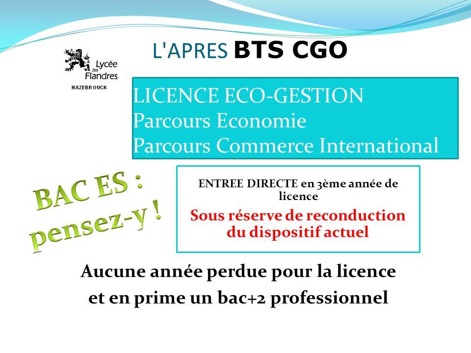 LICENCE ECO-GESTION Parcours Economie Parcours Commerce International Aucune année perdue pour la licence et en prime un bac+2 professionnel ENTREE DI