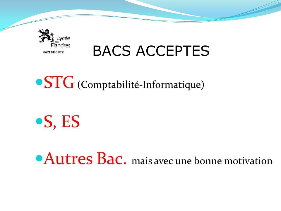 BACS ACCEPTES STG (Comptabilité-Informatique) S, ES Autres Bac. mais avec une bonne motivation