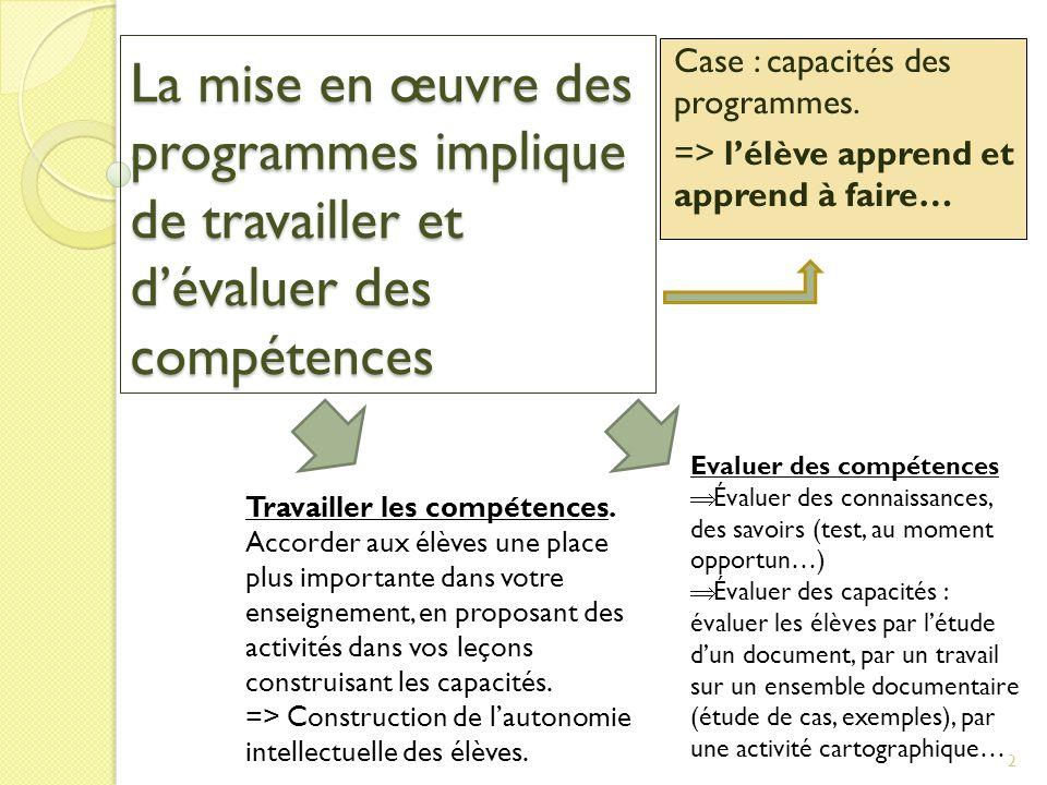 La mise en œuvre des programmes implique de travailler et dévaluer des compétences Case : capacités des programmes.